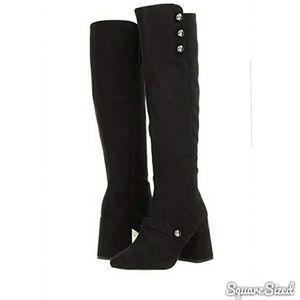 Black Suede Bella Micros Riding Boot